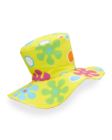 Floral Floppy Top Hat, Yellow