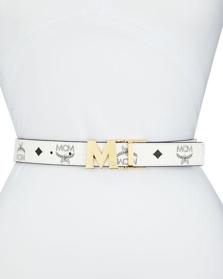 MCM Reversible Coated Canvas Logo Belt, White