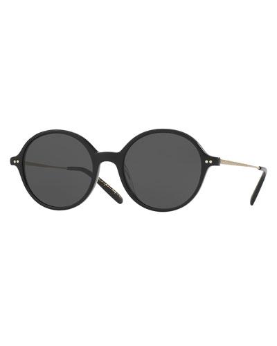 Corby Round Monochromatic Sunglasses, Black