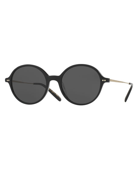 Oliver Peoples Corby Round Monochromatic Sunglasses, Black