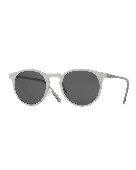 Elias Round Monochromatic Sunglasses, Gray