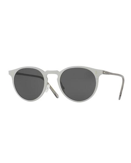 Elias Round Monochromatic Sunglasses, Gray