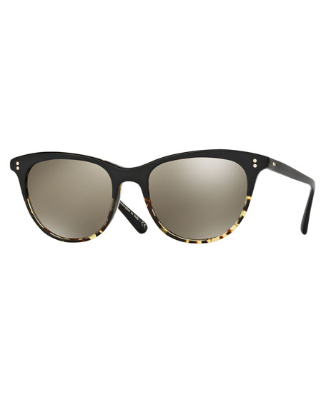 Oliver Peoples Jardinette Mirrored Square Sunglasses, Black