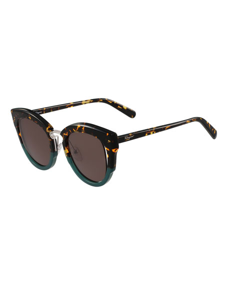 Salvatore Ferragamo Cutout Monochromatic Cat-Eye Sunglasses