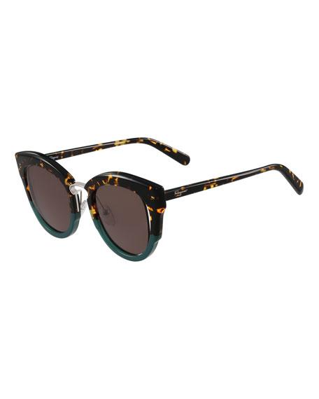 Cutout Monochromatic Cat-Eye Sunglasses
