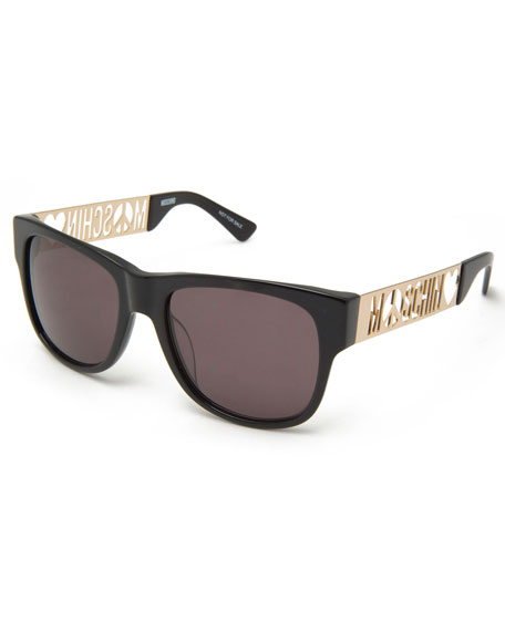 Laser-Cut Monochromatic Rectangular Sunglasses, Black