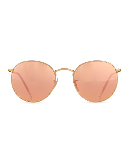 Mirrored Round Metal Sunglasses, Gold/Pink