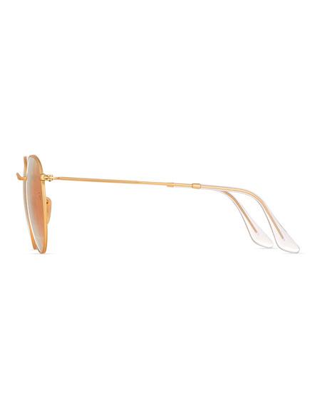 Mirrored Round Metal Sunglasses, Gold/Pink