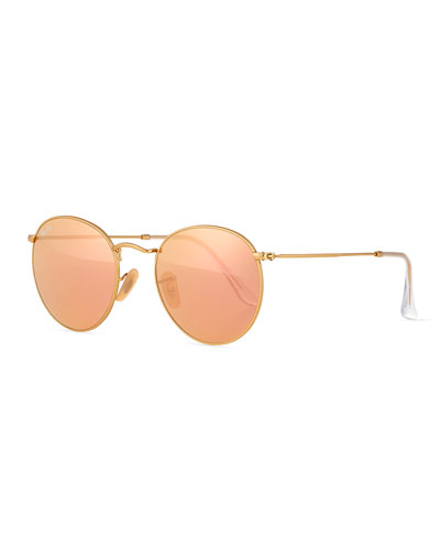Mirrored Round Metal Sunglasses  Gold/Pink