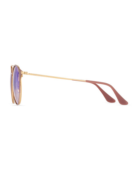 Mirrored Iridescent Round Double-Bridge Flash Sunglasses