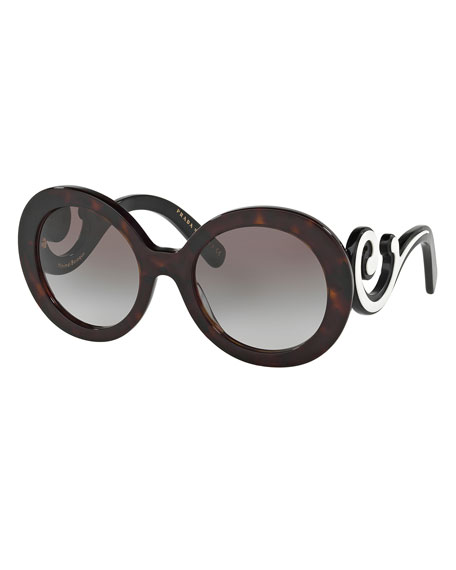 Prada Gradient Two-Tone Round Scroll Sunglasses, Tortoise/Ivory