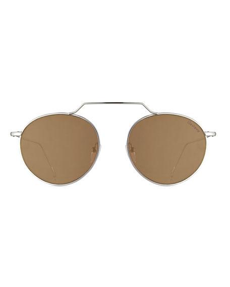Wynwood III Round Mirrored Sunglasses, Gray