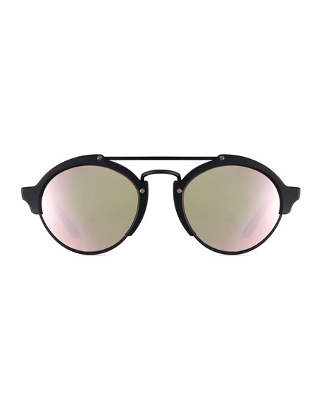 Milan II Mirrored Round Sunglasses, Black/Pink