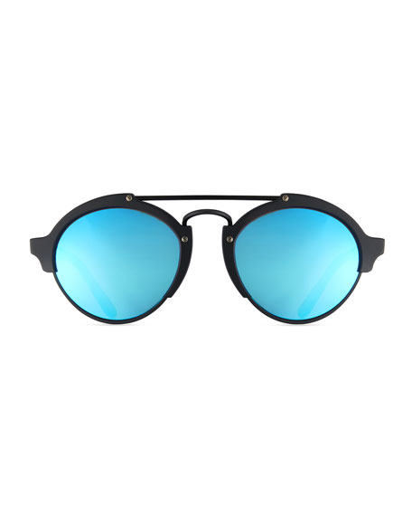 Milan II Mirrored Round Sunglasses, Black/Blue
