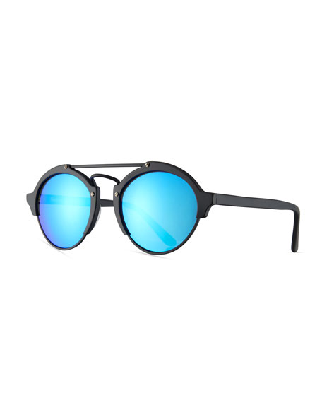 Illesteva Milan II Mirrored Round Sunglasses, Black/Blue