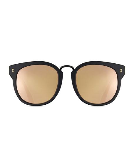 Sardinia Mirrored Square Sunglasses, Black