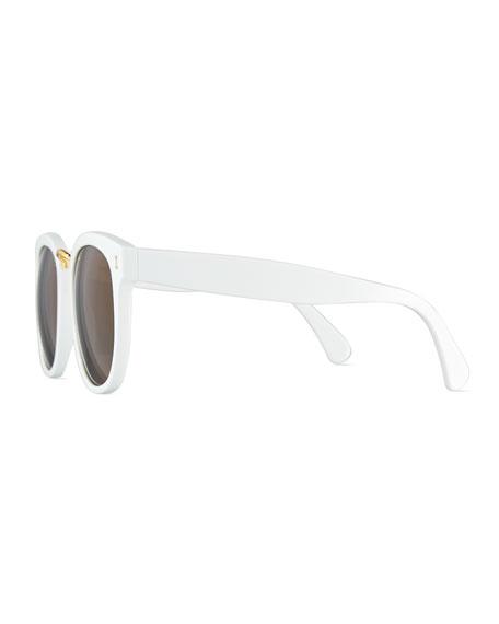 Sardinia Monochromatic Square Sunglasses, White/Brown