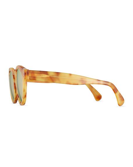 Leonard Mirrored Round Sunglasses, Blonde Havana/Rose