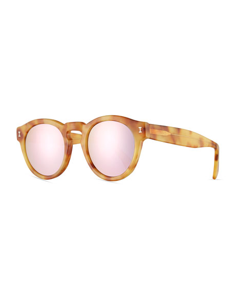 Leonard Mirrored Round Sunglasses, Blonde Havana/Rose