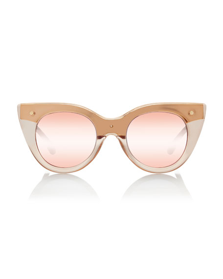 Nefertiti Two-Tone Cat-Eye Sunglasses, Pink