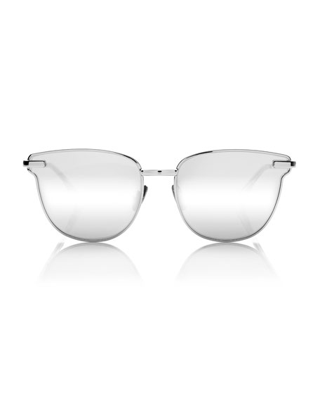 Pharaoh Square Mirrored Sunglasses, Silver