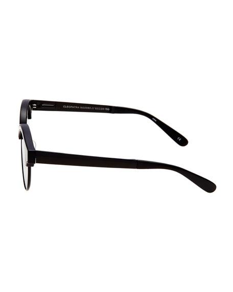 Cleopatra Monochromatic Semi-Rimless Sunglasses, Black