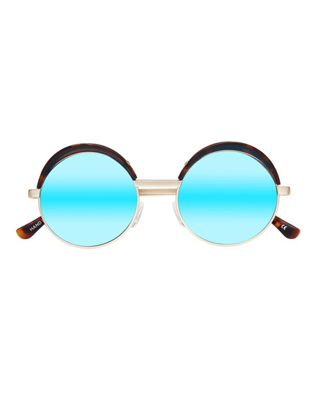 Jester Mirrored Round Metal Sunglasses, Gold