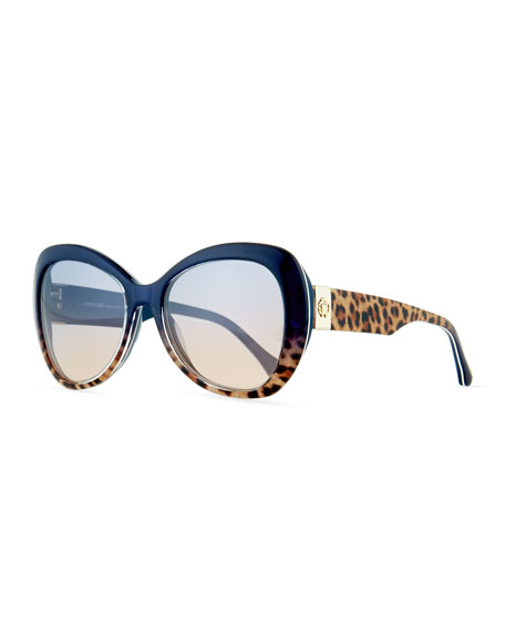 Degrade Leopard-Print Sunglasses, Brown