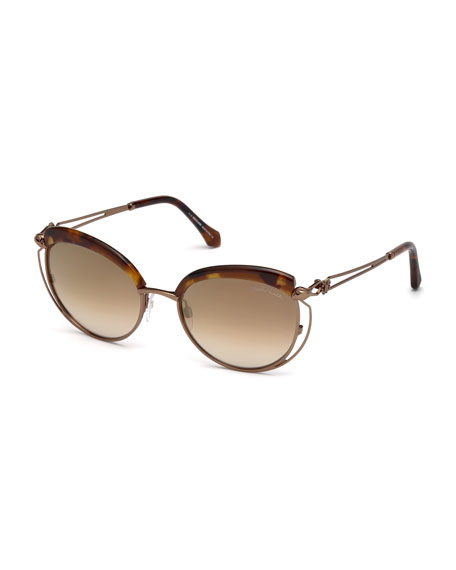 Roberto Cavalli Capped Metal Butterfly Sunglasses, Brown