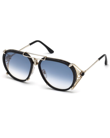 Roberto Cavalli Snakeskin Aviator Sunglasses, Gold/Brown