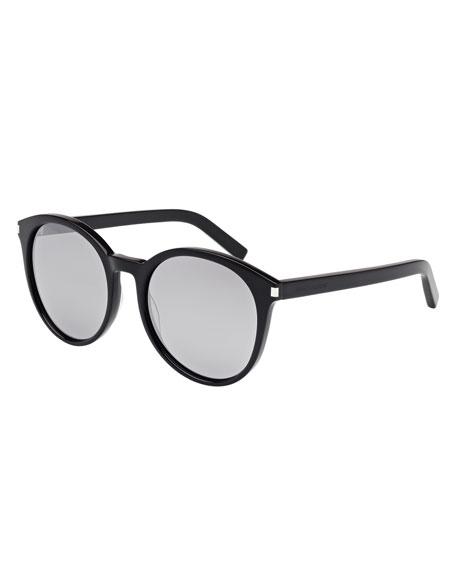 Round Mirrored Sunglasses, Black
