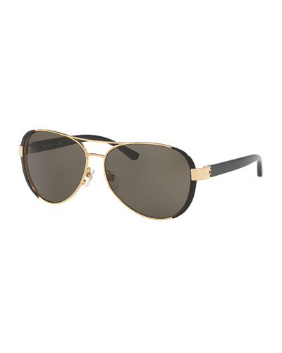 Capped Monochromatic Aviator Sunglasses, Black