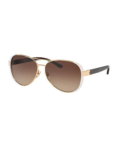Capped Gradient Aviator Sunglasses, White