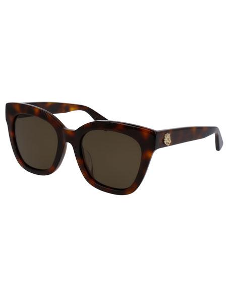 Monochromatic Universal-Fit Cat-Eye Sunglasses, Tortoise