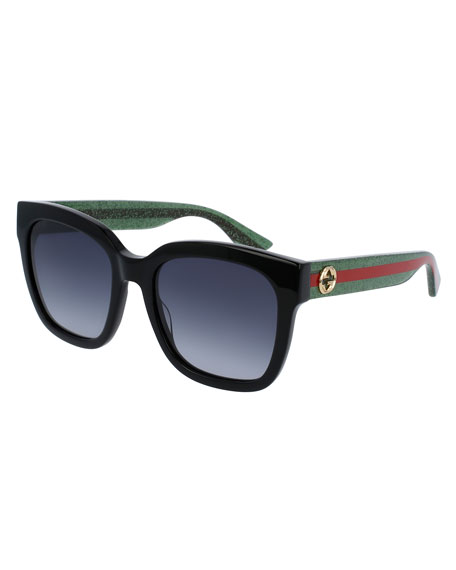 d7b6b6b181a Gucci Glittered Oversized Rectangular Universal-Fit Sunglasses ...