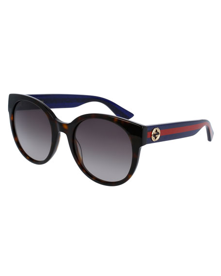 GUCCI GRADIENT ROUND SUNGLASSES, TORTOISE/BLUE/RED, BROWN PATTERN