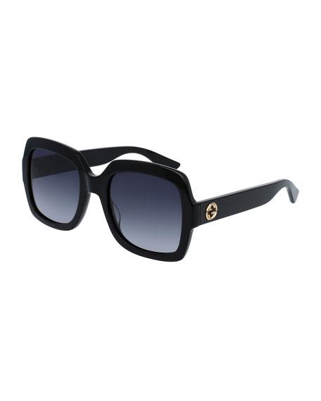 Classic Oversized Rectangular Sunglasses, Black