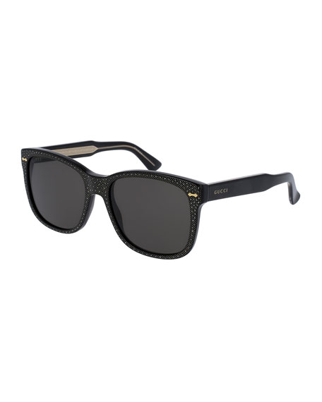 Gucci Monochromatic Studded Square Sunglasses, Black