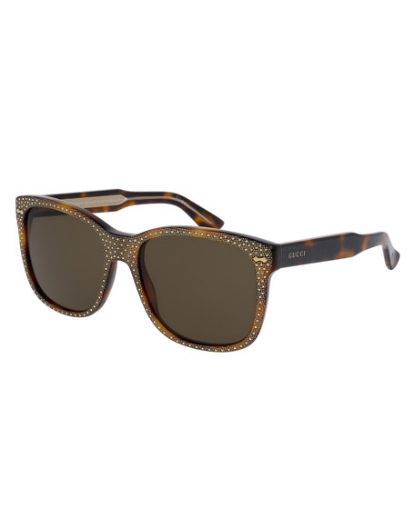 Monochromatic Studded Square Sunglasses, Brown Havana