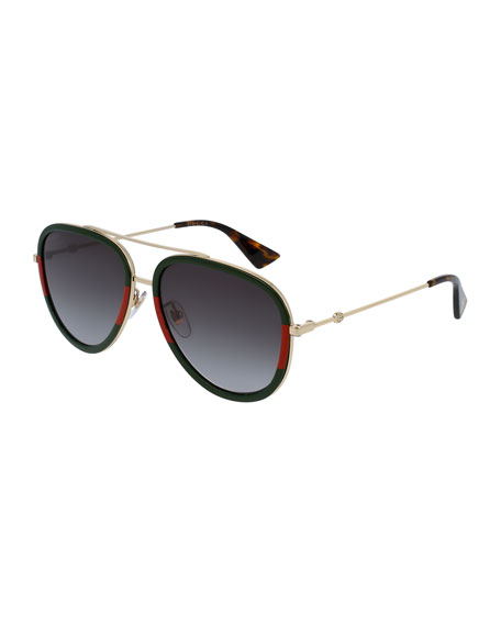 Gucci Gradient Web Aviator Sunglasses, Gold/Green/Red