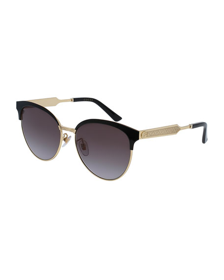 Gucci Engraved Metal Semi-Rimless Cat-Eye Sunglasses, Black/Gold