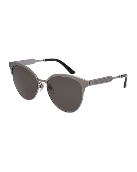 Gucci Engraved Metal Semi-Rimless Cat-Eye Sunglasses, Ruthenium