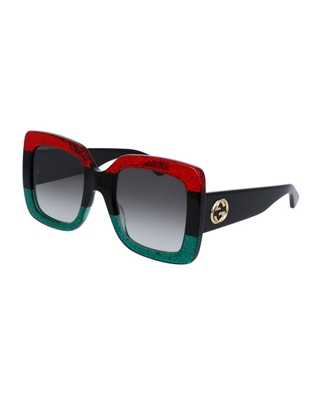 Gucci Glittered Gradient Oversized Square Sunglasses, Red/Black/Green