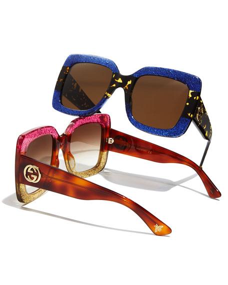 Glittered Gradient Oversized Square Sunglasses, Purple
