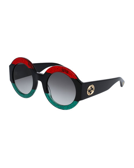 Glittered Oversized Round Sunglasses, Red/Green/Black