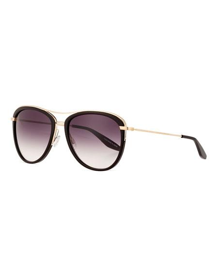 Barton Perreira Aviatress Universal-Fit Aviator Sunglasses, Black