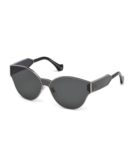 Balenciaga Monochromatic Shield Cat-Eye Sunglasses, Gray Metallic