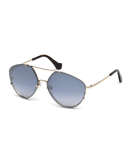 Balenciaga Metal Geometric Aviator Flash Sunglasses, Gold