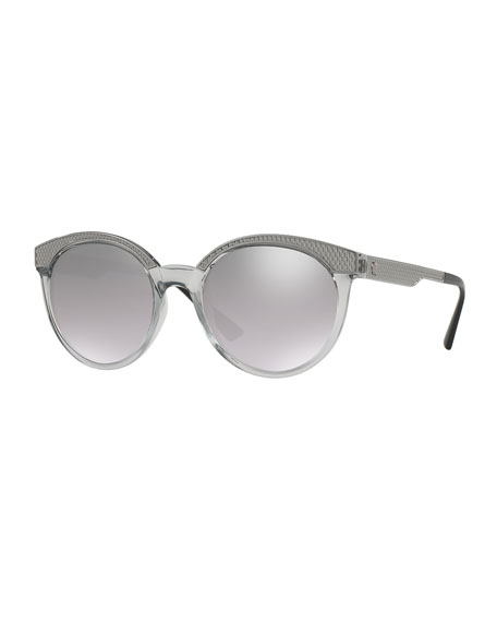 Embossed Mirrored Cat-Eye Sunglasses, Gray