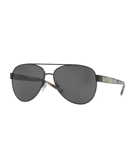 Monochromatic Aviator Sunglasses, Black